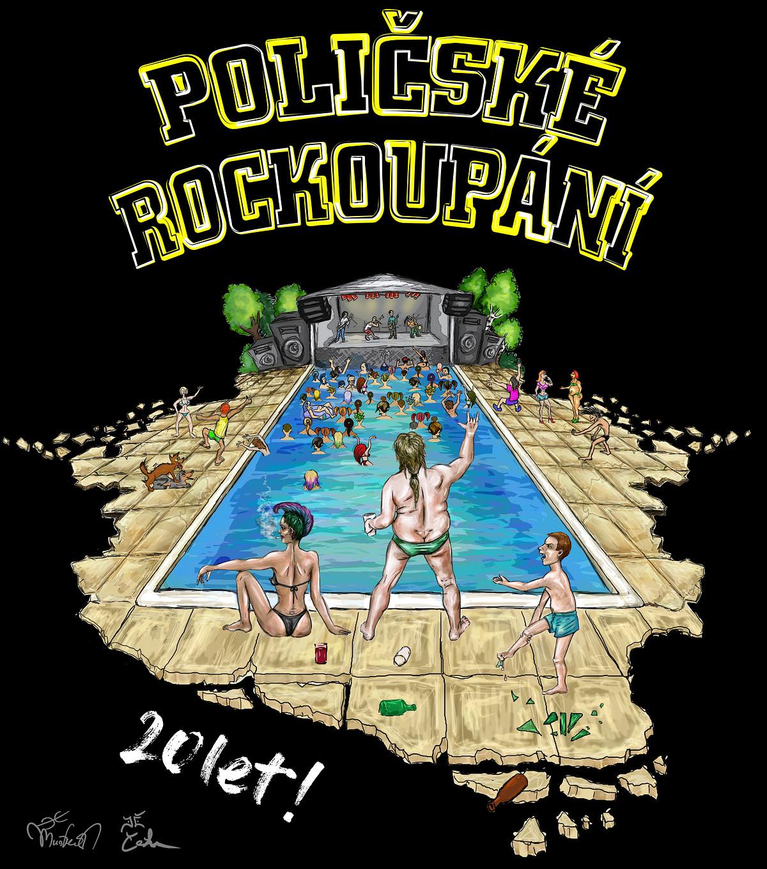 originál grafiky originálních, festivalových triček Poličské Rockoupání 2017